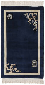 China 90 Line Rug 91X152 Authentic  Oriental Handknotted Black/Light Grey (Wool, China)