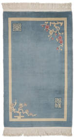 China 90 Line Rug 91X151 Authentic  Oriental Handknotted Dark Blue/Light Grey (Wool, China)