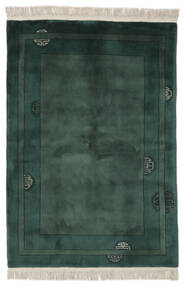 China 90 Line Rug 140X200 Authentic  Oriental Handknotted Black/Dark Green (Wool, China)
