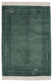 China 90 Line Rug 140X200 Authentic  Oriental Handknotted Dark Green/Dark Turquoise  /Black (Wool, China)