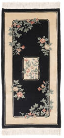 China 90 Line Rug 91X183 Authentic  Oriental Handknotted Hallway Runner  Black/Dark Beige (Wool, China)