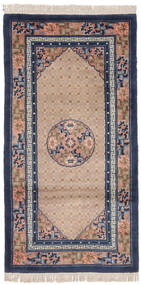 China 90 Line Rug 91X183 Authentic  Oriental Handknotted Hallway Runner  Black/Brown (Wool, China)
