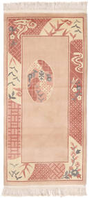 China 90 Line Rug 91X183 Authentic  Oriental Handknotted Hallway Runner  Light Brown/Rust Red (Wool, China)