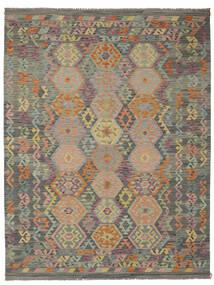 Kilim Afghan Old Style Rug 183X242 Authentic  Oriental Handwoven Dark Green/Dark Brown (Wool, Afghanistan)