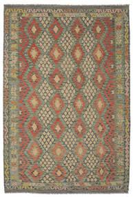 Kilim Afghan Old Style Rug 199X294 Authentic  Oriental Handwoven Dark Green/Dark Brown (Wool, Afghanistan)