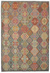 Kilim Afghan Old Style Rug 201X293 Authentic  Oriental Handwoven Dark Green/Brown (Wool, Afghanistan)