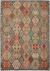 Kilim Afghan Old Style Rug 213X295 Authentic  Oriental Handwoven Dark Green/Dark Brown (Wool, Afghanistan)