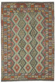 Kilim Afghan Old Style Rug 200X291 Authentic  Oriental Handwoven Dark Green/Dark Brown (Wool, Afghanistan)