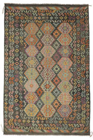 Kilim Afghan Old Style Rug 203X300 Authentic  Oriental Handwoven Dark Green/Black/Dark Brown (Wool, Afghanistan)