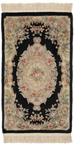 China 90 Line Rug 91X152 Authentic  Oriental Handknotted Black/Dark Brown (Wool, China)