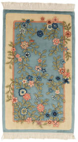China 90 Line Rug 91X152 Authentic  Oriental Handknotted Dark Turquoise  /Beige (Wool, China)