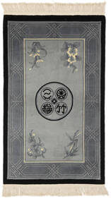 China 90 Line Rug 91X152 Authentic  Oriental Handknotted Black/Dark Grey (Wool, China)