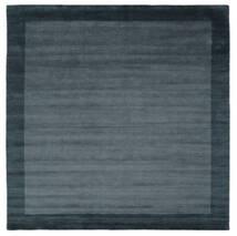 Handloom Frame - Petrol Blue Rug 300X300 Modern Square Black/Dark Blue Large (Wool, India)
