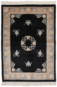 China 90 Line Rug 140X200 Authentic  Oriental Handknotted Black/Brown (Wool, China)