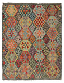 Kilim Afghan Old Style Rug 160X204 Authentic  Oriental Handwoven Dark Brown/Dark Green (Wool, Afghanistan)