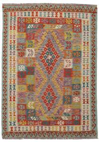 Kilim Afghan Old Style Rug 143X203 Authentic  Oriental Handwoven Dark Green/Dark Brown (Wool, Afghanistan)